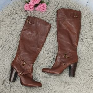 Nine West Brown Pebbled Leather Boots 10